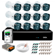 Kit Giga Security 12 Câmeras Full HD 1080p gs0271 + DVR com HD 1TB Seagate + Acessórios