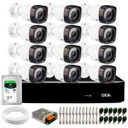 Kit Giga Security 12 Câmeras HD 720p GS0020 + DVR com HD 1TB Seagate + Acessórios