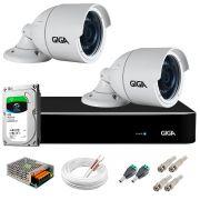 Kit 2 Câmeras  5MP + DVR Giga +  HD 1TB + App de  Monitoramento, Câmeras 30m Infravermelho de Visão Noturna Giga Security GS0047 Completo com Acessórios