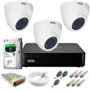 Kit Giga Security 3 Câmeras HD 720p GS0019 + DVR Lite com HD 1TB Seagate + Acessórios