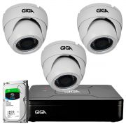 Kit HD 720p 03 Câmeras GS0021 + DVR Giga Security + HD 1TB Skygawk + Acessórios