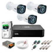 Kit Giga Security 3 Câmeras HD 720p GS0018 + DVR com HD 1TB Seagate + Acessórios