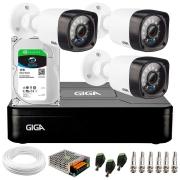 Kit Giga Security 3 Câmeras HD 720p GS0020 + DVR com HD 1TB Seagate + Acessórios