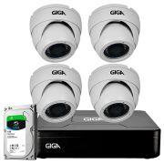 Kit HD 720p 04 Câmeras GS0021 + DVR Giga Security + HD 1TB Skygawk + Acessórios