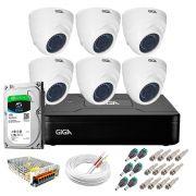 Kit Giga Security 6 Câmeras HD 720p GS0019 + DVR Lite com HD 1TB Seagate + Acessórios