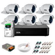 Kit 6 Câmeras GS0022 HD 720p Giga Security + DVR com HD 1TB Seagate + Acessórios