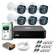 Kit Giga Security 6 Câmeras HD 720p GS0018 + DVR com HD 1TB Seagate + Acessórios