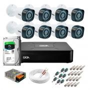 Kit Giga Security 8 Câmeras HD 720p GS0018 + DVR com HD 1TB Seagate + Acessórios