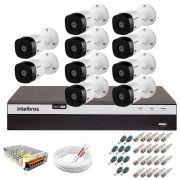 Kit Intelbras 10 Câmeras Full HD 1080p VHL 1220 B + DVR 3116 Intelbras  + Acessórios