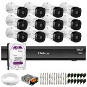Kit Intelbras 12 Câmeras Full HD 1080p VHL 1220 B + DVR iMHDX 3016 Intelbras + HD 1TB + Acessórios