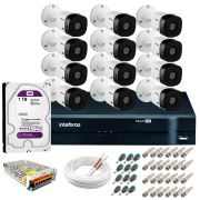 Kit Intelbras 12 Câmeras HD 720p VHL 1120 B + DVR 1116 Intelbras com HD 1TB + Acessórios