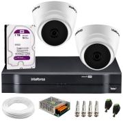 Kit Intelbras 2 Câmeras Dome Multi HD VHD 1010 D + DVR 1104 Intelbras + Acessórios + HD para Armazenamento + App Grátis de Monitoramento