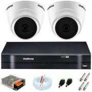 Kit Intelbras 2 Câmeras HD 720p VHD 1120 D G6 + DVR 1104 Intelbras + Acessórios +App Grátis de Monitoramento