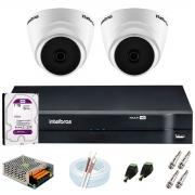 Kit Intelbras 2 Câmeras HD 720p VHD 1120 D G6 + DVR 1104 Intelbras + Acessórios + HD 1TB para Armazenamento + App Grátis de Monitoramento