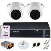 Kit Intelbras 2 Câmeras HD 720p VHD 1120 D G6 + DVR 1104 Intelbras + Acessórios + HD 2TB para Armazenamento + App Grátis de Monitoramento