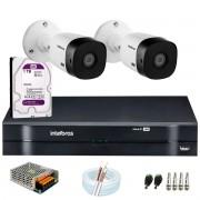 Kit Intelbras 2 Câmeras HD 720p VHL 1120 B + DVR 1104 Intelbras com HD 1TB + Acessórios