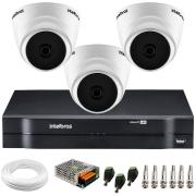Kit Intelbras 3 Câmeras Dome Multi HD VHD 1010 D + DVR 1104 Intelbras + Acessórios + App Grátis de Monitoramento