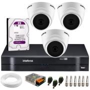 Kit Intelbras 3 Câmeras Dome Multi HD VHD 1010 D + DVR 1104 Intelbras + Acessórios + HD para Armazenamento + App Grátis de Monitoramento