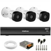 Kit Intelbras 3 Câmeras Full HD 1080p VHL 1220 B  + Gravador de Vídeo Digital iMHDX 3004 com Reconhecimento Facial 4 Canais + Acessórios