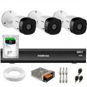 Kit Intelbras 3 Câmeras Full HD 1080p VHL 1220 B  + Gravador de Vídeo Digital iMHDX 3004 com Reconhecimento Facial 4 Canais + Hd 1TB