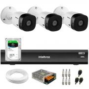 Kit Intelbras 3 Câmeras Full HD 1080p VHL 1220 B  + Gravador de Vídeo Digital iMHDX 3004 com Reconhecimento Facial 4 Canais + Hd 2TB