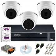 Kit Intelbras 3 Câmeras HD 720p VHD 1120 D G6 + DVR 1104 Intelbras + Acessórios + HD 1TB para Armazenamento + App Grátis de Monitoramento