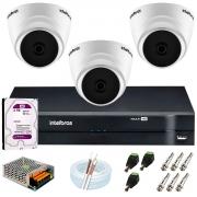 Kit Intelbras 3 Câmeras HD 720p VHD 1120 D G6 + DVR 1104 Intelbras + Acessórios + HD 2TB para Armazenamento + App Grátis de Monitoramento
