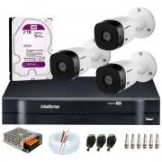 Kit Intelbras 3 Câmeras HD 720p VHL 1120 B + DVR 1104 Intelbras + HD 2TB para Armazenamento