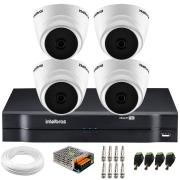 Kit Intelbras 4 Câmeras Dome Multi HD VHD 1010 D + DVR 1104 Intelbras + Acessórios + App Grátis de Monitoramento