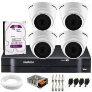 Kit Intelbras 4 Câmeras Dome Multi HD VHD 1010 D + DVR 1104 Intelbras + Acessórios + HD para Armazenamento + App Grátis de Monitoramento