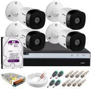 Kit Intelbras 4 Câmeras Full HD 1080p VHL 1220 B + DVR MHDX 3104 Intelbras com HD 1TB + Acessórios