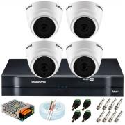 Kit Intelbras 4 Câmeras HD 720p VHD 1120 D G6 + DVR 1104 Intelbras + Acessórios + App Grátis de Monitoramento