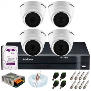 Kit Intelbras 4 Câmeras HD 720p VHD 1120 D G6 + DVR 1104 Intelbras + Acessórios + HD 1TB para Armazenamento + App Grátis de Monitoramento