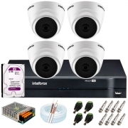 Kit Intelbras 4 Câmeras HD 720p VHD 1120 D G6 + DVR 1104 Intelbras + Acessórios + HD 2TB para Armazenamento + App Grátis de Monitoramento