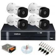 Kit Intelbras 4 Câmeras HD 720p VHL 1120 B + DVR 1104 Intelbras  + Acessórios