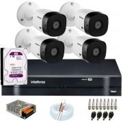 Kit Intelbras 4 Câmeras HD 720p VHL 1120 B + DVR 1104 Intelbras com HD 1TB + Acessórios