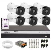 Kit Intelbras 6 Câmeras Full HD 1080p VHL 1220 B + DVR Intelbras Full HD MHDX 3108 + HD 1TB