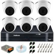 Kit Intelbras 6 Câmeras HD 720p VHD 1120 D G6 + DVR 1108 Intelbras + Acessórios + App Grátis de Monitoramento