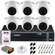 Kit Intelbras 6 Câmeras HD 720p VHD 1120 D G6 + DVR 1108 Intelbras + Acessórios + HD 1TB para Armazenamento + App Grátis de Monitoramento