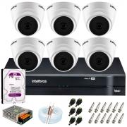 Kit Intelbras 6 Câmeras HD 720p VHD 1120 D G6 + DVR 1108 Intelbras + Acessórios + HD 2TB para Armazenamento + App Grátis de Monitoramento