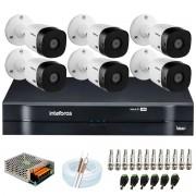 Kit Intelbras 6 Câmeras HD 720p VHL 1120 B + DVR 1108 Intelbras  + Acessórios