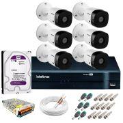 Kit Intelbras 6 Câmeras HD 720p VHL 1120 B + DVR 1108 Intelbras com HD 1TB + Acessórios