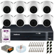 Kit Intelbras 8 Câmeras HD 720p VHD 1120 D G6 + DVR 1108 Intelbras + Acessórios + HD 1TB para Armazenamento + App Grátis de Monitoramento
