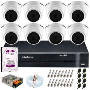 Kit Intelbras 8 Câmeras HD 720p VHD 1120 D G6 + DVR 1108 Intelbras + Acessórios + HD 2TB para Armazenamento + App Grátis de Monitoramento