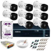 Kit Intelbras 8 Câmeras HD 720p VHL 1120 B + DVR 1108 Intelbras com HD 1TB + Acessórios