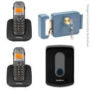 Kit Intelbras Interfone Porteiro Residencial Sem Fio TIS 5010 com Ramal Externo + 02 Ramais Internos para Atendimento + Fechadura Elétrica de Sobrepor Intelbras FX 2000
