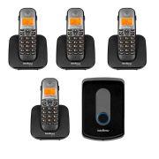 Kit Intelbras Interfone Porteiro Residencial Sem Fio TIS 5010 com Ramal Externo + 04 Ramais Internos para Atendimento