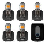 Kit Intelbras Interfone Porteiro Residencial Sem Fio TIS 5010 com Ramal Externo + 05 Ramais Internos para Atendimento