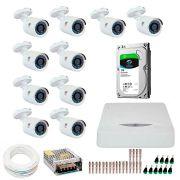 Kit JFL 10 Câmeras HD 720p CHD 1130P + DVR DHD-2116N 1080N com HD 1TB Seagate + Acessórios