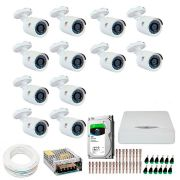 Kit JFL 12 Câmeras HD 720p CHD 1130P + DVR DHD-2116N 1080N com HD 1TB Seagate + Acessórios